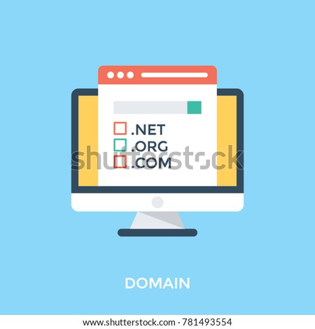 Domain name registration, flat design vector illustration