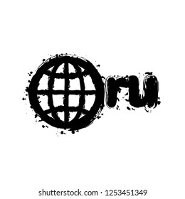 domain of Russia, globe and ru. Black ink with splashes on white background