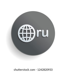 domain of Russia, globe and ru. White paper symbol on gray round button or badge with shadow