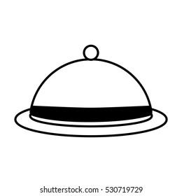 dome kitchen food service outline vector illustration eps 10