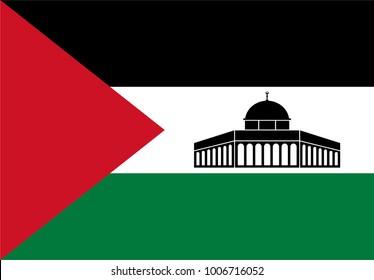 Dome of Rock Jerusalem (Al-Quds). Palestine landmark. Palestine Flag. Vector illustration.
