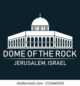Dome of Rock Jerusalem Israel (Temple Mount) (Al-Quds). Vector illustration.