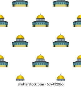 Dome of the Rock on the Temple Mount pattern seamless flat style for web vector illustration