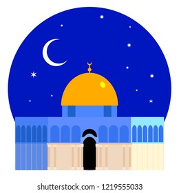The Dome of the Rock (Qubbet el-Sakhra) Minimalist Vectoral Illustration with Night Sky