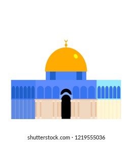 The Dome of the Rock (Qubbet el-Sakhra) Minimalist Vectoral Illustration White Background Isolated