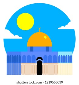 The Dome of the Rock (Qubbet el-Sakhra) Minimalist Vectoral Illustration with Sunny Sky