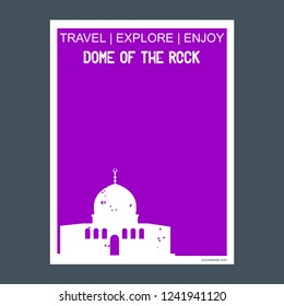 Dome of the Rock Shrine, Jerusalem monument landmark brochure Flat style and typography vector