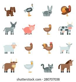 Domestic animal flat icons set with dog rabbit donkey isolated vector illustration