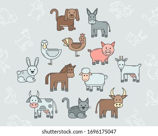 Domestic animal Icons set - Vector color symbols and outline of pets for the site or interface