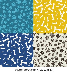 domestic animal paw print set of seamless patterns vector illustration, dog bone shape texture and symbol pattern, food or toy for puppy, cartoon background pet shop