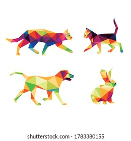Domestic Animal Set in Colorful Polygonal low poly. Colorful abstract Icon Vector. cat dog rabbit kitten in colorful low poly