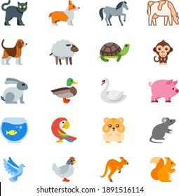 Domestic animals bird flat icons cat dog horse cow, sheep, turtle, tortoise, monkey,rabbit, duck, swan, pig, fish, parrot, hamster guinea pig, rat, dove, pigeon, hen, cock, rooster, kangaroo, squirrel