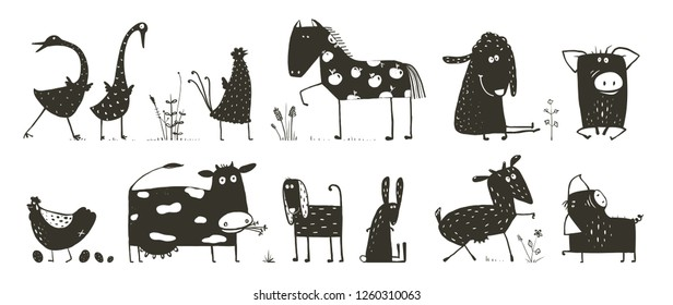 Domestic Animals Collection. Funny house animals cartoon black and white.