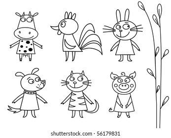 Domestic Animals Contour - vector