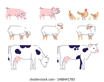 Domestic animals flat vector illustrations set. Livestock, husbandry farming isolated design elements with outline. Cows, sheeps, pigs and chickens. Dairy, poultry farm. Barnyard animals collection