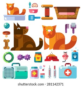 Domestic animals with their toys. Pet shop . Accessories, goods for care of pets in icons, color vector flat illustration