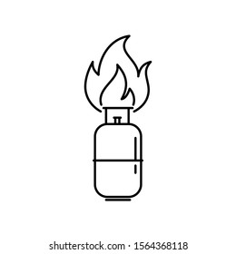 Domestic cooking gas cylinder is on fire. Outline thin line flat illustration. Isolated on white background.