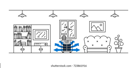 Domestic floor air conditioner vector illustration. Living room with floor (portable) air conditioner (ac) appliance line art concept.