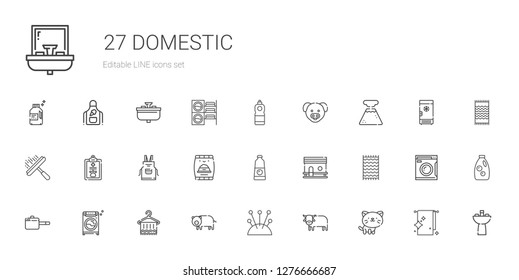domestic icons set. Collection of domestic with cat, ox, cushion, pig, towel, washing machine, pan, beach towel, chicken coop, detergent. Editable and scalable domestic icons.