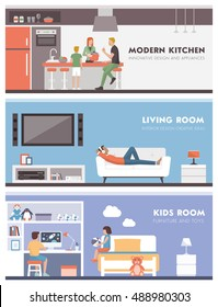 Domestic lifestyle and room interiors banners set with people: kitchen, living room and kids bedroom