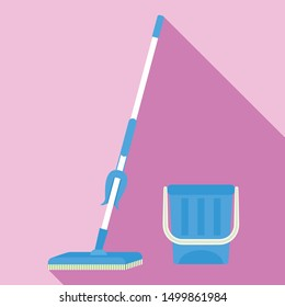 Domestic mop icon. Flat illustration of domestic mop vector icon for web design