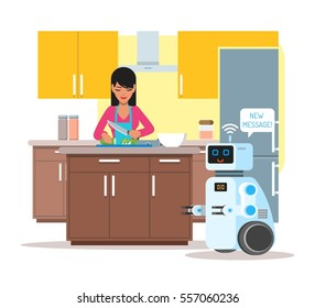 Domestic personal assistance robot helps his owner at home. Robotics technology concept vector illustration.