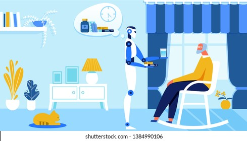 Domestic Personal Robot Engineered for People Assistance and Convenience Bring Cup of Water and Medicine to Senior Owner at Home. Artificial Intelligence in Human Life Cartoon Flat Vector Illustration