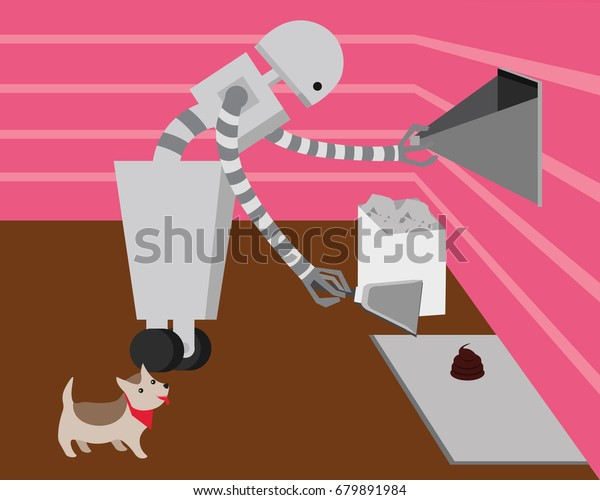 Domestic Robot Cleaning Dogs Poop Personal Stock Vector