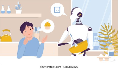 Domestic robot cooking on kitchen for a child. Personal robot for people assistance. AI helps people in their life, future technology and lifestyle concept. Vector illustration in cartoon style