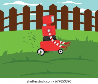Domestic robot grassmower cutting grass on a green lawn. Robotic gardening futuristic concept illustration vector.