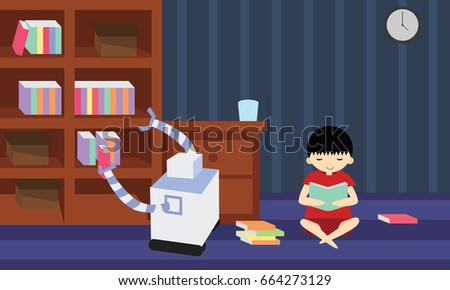 Domestic Robot Picking Book From Bookshelf While His Young Owner Is Stydying Personal Assistance
