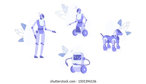 Domestic Robots Set Isolated on White Background. Automation Household Help with Cooking, Cleaning, House Protection. Humanised and Animal Like Robotics Machines, Ai. Cartoon Flat Vector Illustration
