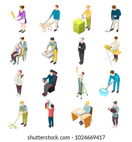 Domestic servant set of isometric icons with housemaid, gardener, nanny, personal chef, driver, nurse isolated vector illustration
