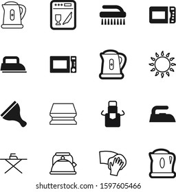 domestic vector icon set such as: laundry, wear, old, brush, retro, maid, natural, room, cooker, fuel, protective, sponge, scraper, stove, dish, clear, fetlock, wet, coffee, electricity, pot, plate