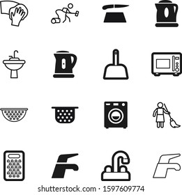 domestic vector icon set such as: vacuum, steam, scoop, maid, surface, sweep, chop, restaurant, plastic, dinner, glass, blade, rag, kitten, accessory, cutting, woman, sharp, chef, industry, mop