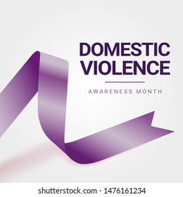 Domestic Violence Awareness Month (October) concept with deep purple awareness ribbon. Colorful vector illustration for web and printing