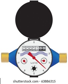 Domestic water meter in the vector
