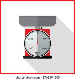 Domestic weight scales icon, cartoon illustration of domestic weight scales vector icon for web design