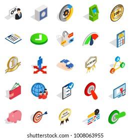 Dominance icons set. Isometric set of 25 dominance vector icons for web isolated on white background