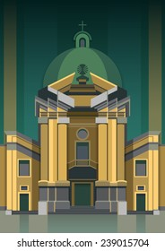 Dominican church, Lvov. Vector illustration of architecture. Flat design