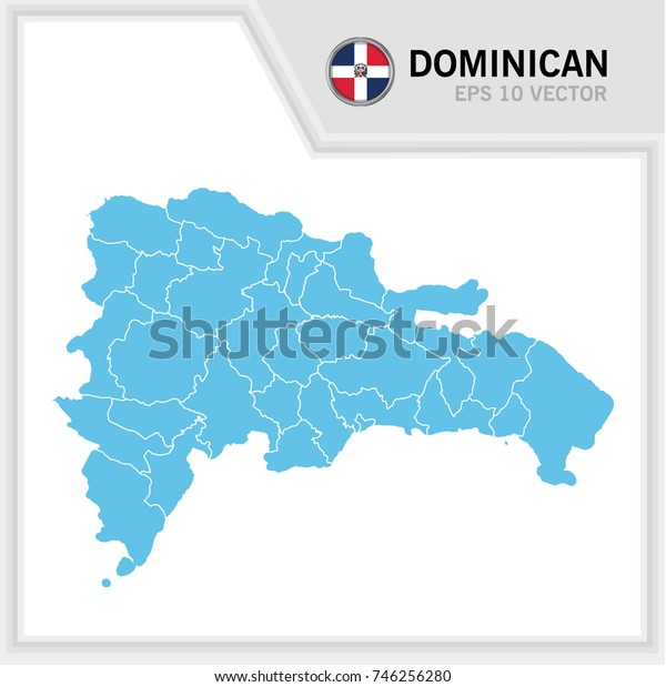 Dominican map and flag in white background