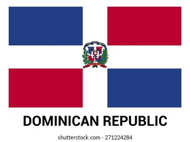 Dominican Republic flag isolated vector in official colors and Proportion Correctly. country's name label in bottom