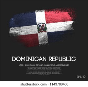 Dominican Republic Flag Made of Glitter Sparkle Brush Paint Vector