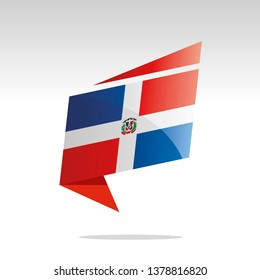 Dominican Republic flag New abstract origami logo icon button label vector