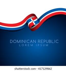 Dominican Republic Flag Ribbon : Vector Illustration