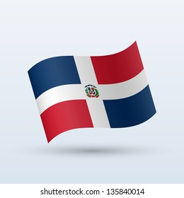 Dominican Republic flag waving form on gray background. Vector illustration.