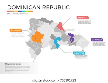 Dominican Republic map infographics vector template with regions and pointer marks