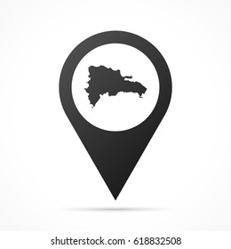 Dominican Republic Map on location pin. Map pointer isolated on a white background. Conceptual vector illustration.