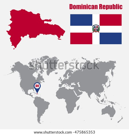 Dominican Republic Map On World Map Stock Vector (Royalty Free ...