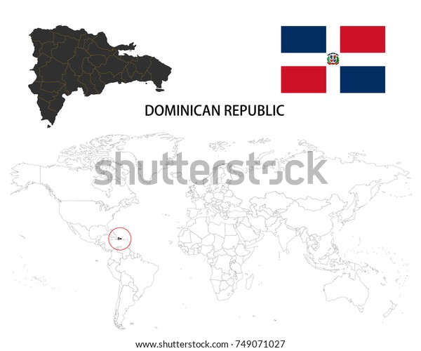 Dominican Republic Map On World Map Stock Vector (Royalty ...